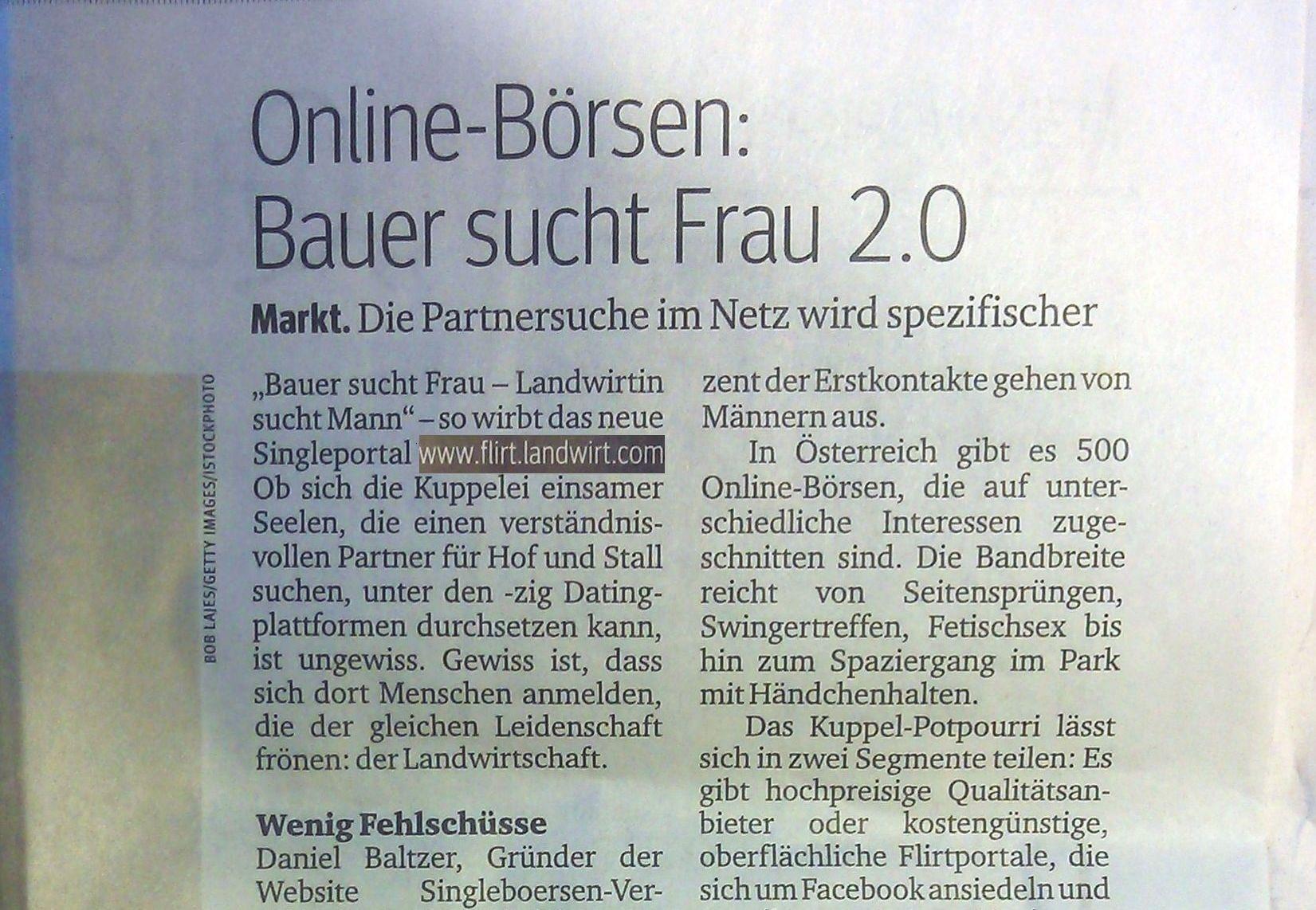 Online Singlebörsen: Bauer sucht Frau 2.0