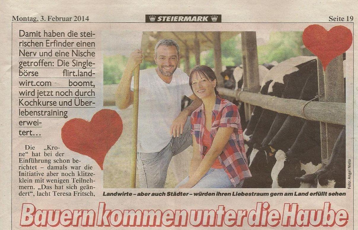 Landwirt Flirt in der Kronen Zeitung